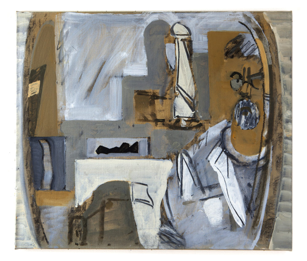 Målaren i ateljén, akryl på duk, 2013